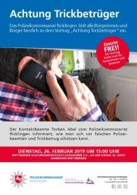 Achtung Trickbetr�ger: Dienstag, 26.02.2019, 15 Uhr, Wettberger Katakombe